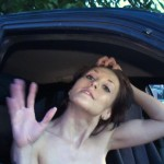 Brunette slut gets shafted outdoors