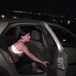 Busty milf penetrated through a car window