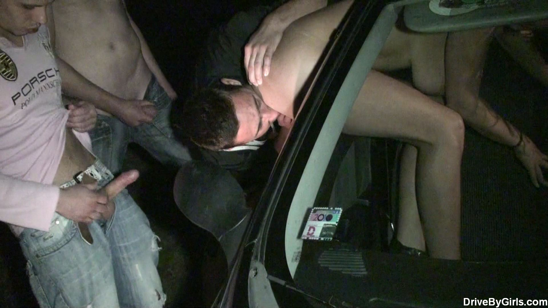 Eating pussy through car window