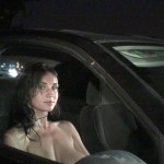 Dogging babe gets her pussy licked out the car window
