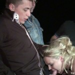 Stocking clad blonde fucked while dogging